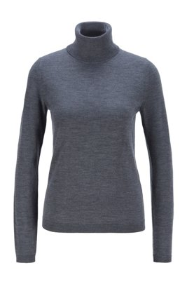 Roll-neck sweater in mercerised Merino wool, Light Grey