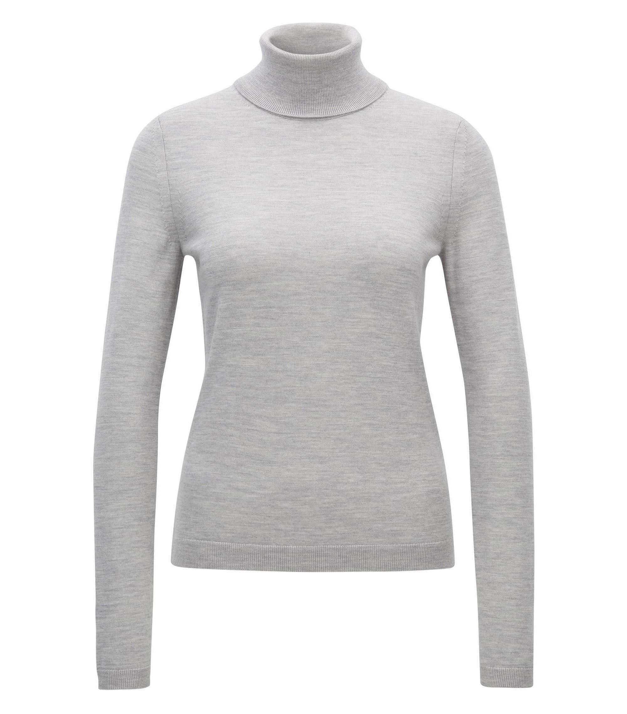 Jersey de cuello alto en lana de merino mercerizada, Gris claro