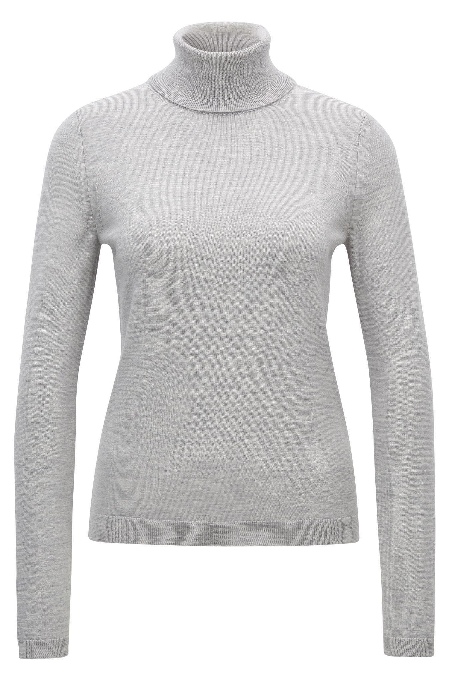 Roll-neck sweater in mercerised Merino wool
