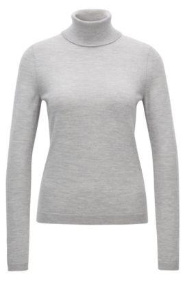 Roll-neck sweater in mercerised Merino wool, Light Grey