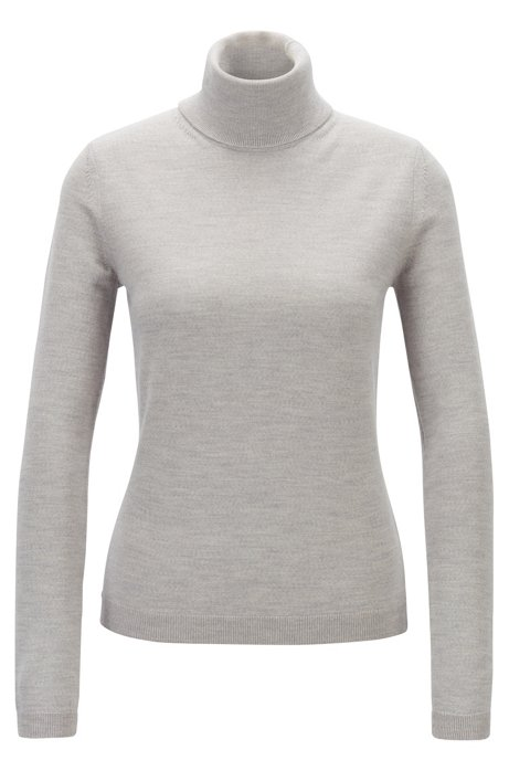 Roll-neck sweater in mercerised Merino wool, Grey