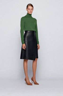 Roll-neck sweater in mercerised Merino wool, Light Green