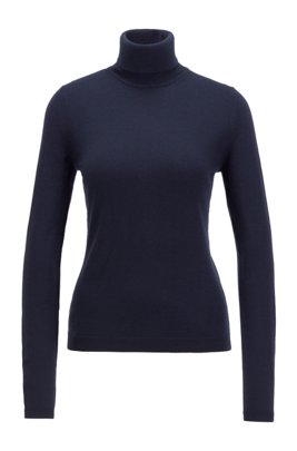 Roll-neck sweater in mercerised Merino wool, Blue