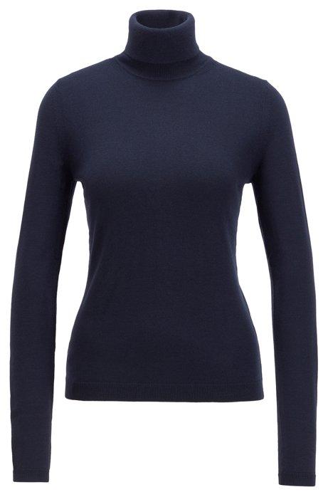 Jersey de cuello alto en lana de merino mercerizada, Azul