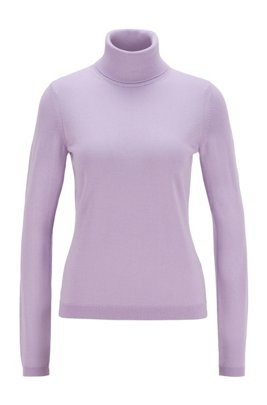 Roll-neck sweater in mercerised Merino wool, Light Purple