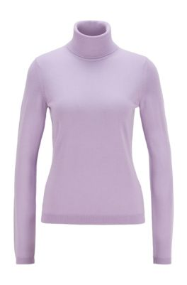 Roll-neck sweater in mercerised Merino wool, Light Purple