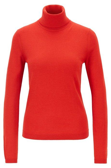 Roll-neck sweater in mercerised Merino wool, Red