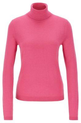 Roll-neck sweater in mercerised Merino wool, Pink