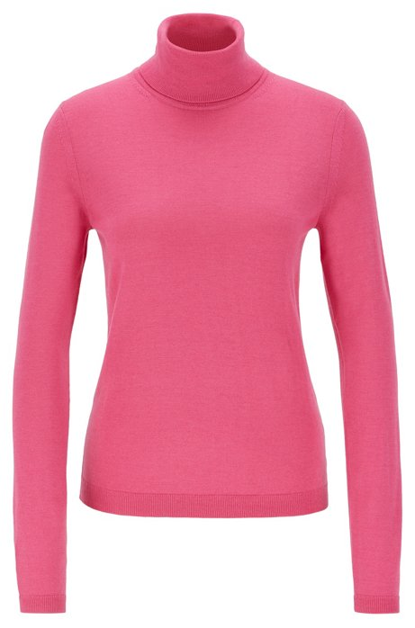 Roll-neck sweater in mercerised Merino wool, Pink