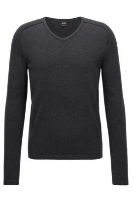 Pullover aus gestrickter Baumwolle mit V-Ausschnitt und Paspel-Details, Schwarz