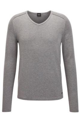 Pullover aus gestrickter Baumwolle mit V-Ausschnitt und Paspel-Details, Hellgrau