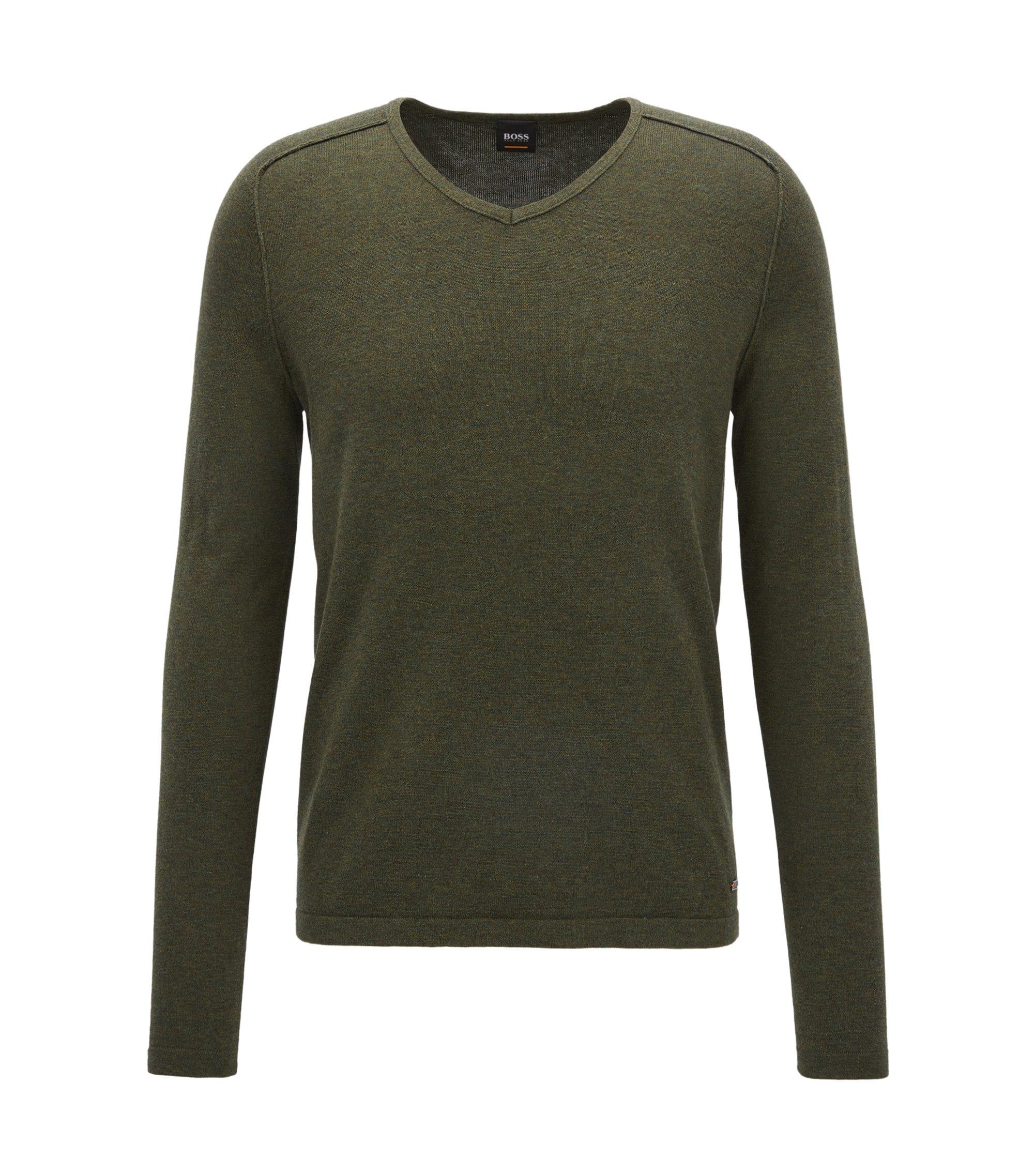 Pullover aus gestrickter Baumwolle mit V-Ausschnitt und Paspel-Details, Dunkelgrün