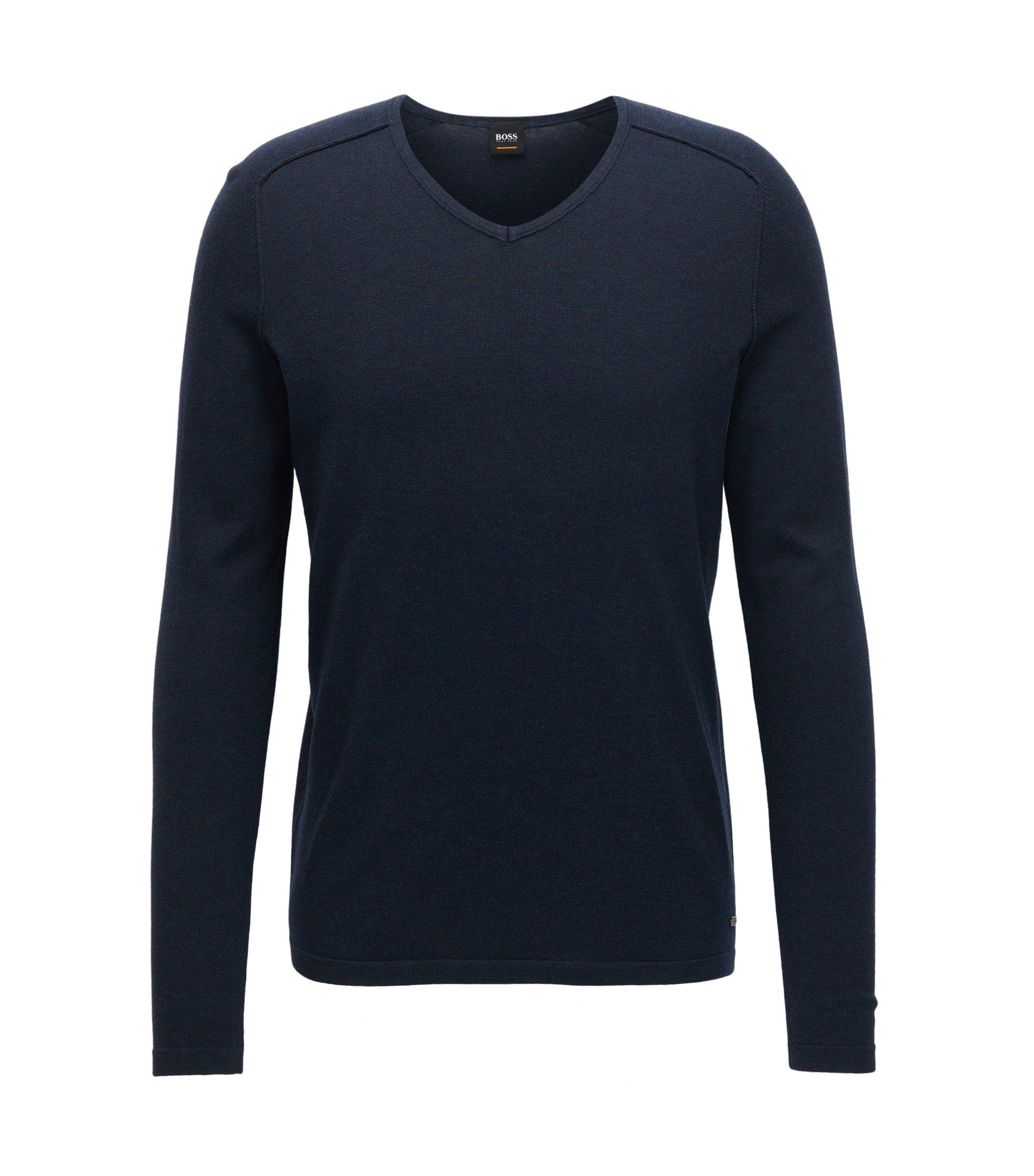 Pullover aus gestrickter Baumwolle mit V-Ausschnitt und Paspel-Details, Dunkelblau