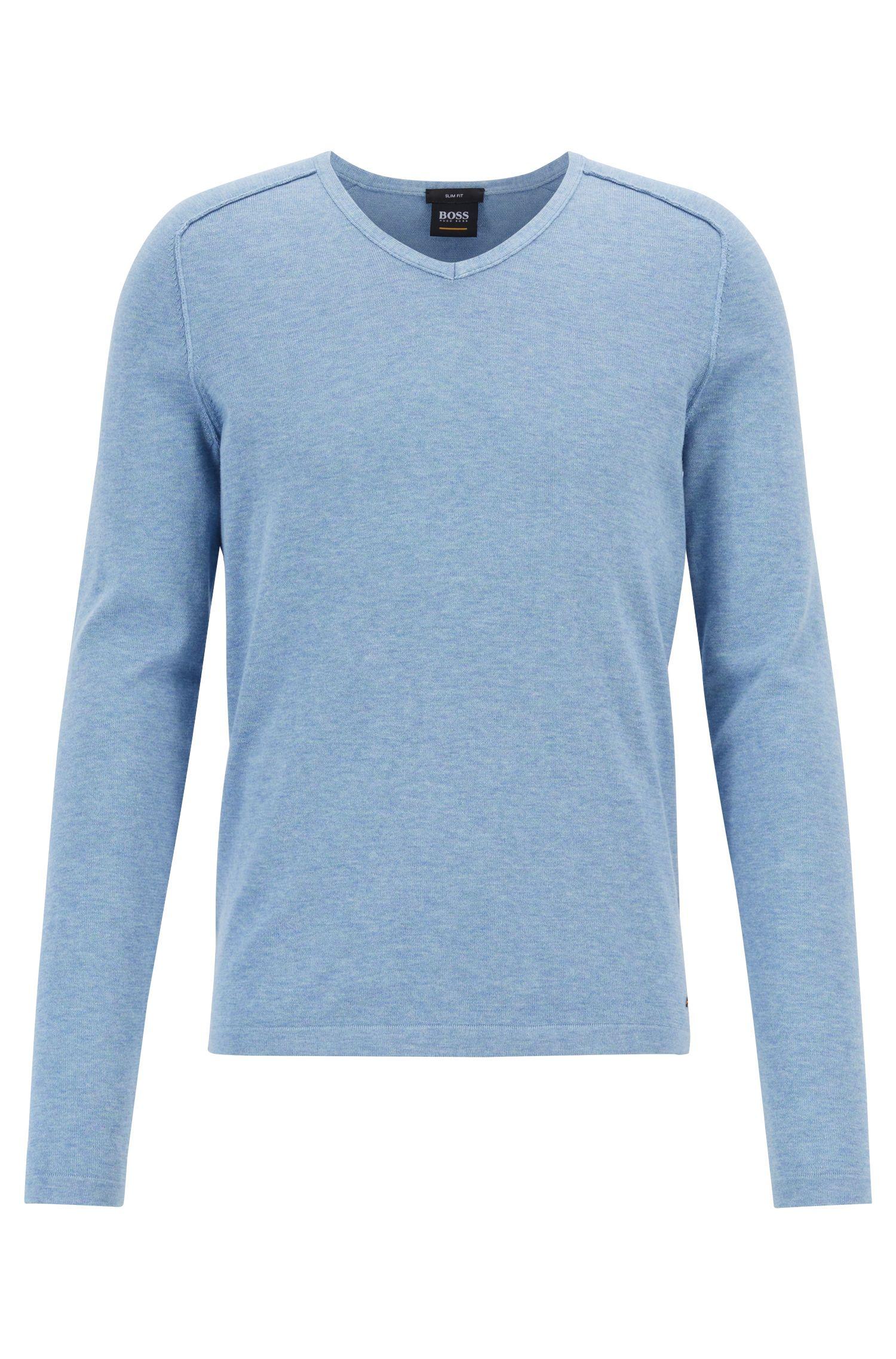 Pullover aus gestrickter Baumwolle mit V-Ausschnitt und Paspel-Details, Hellblau