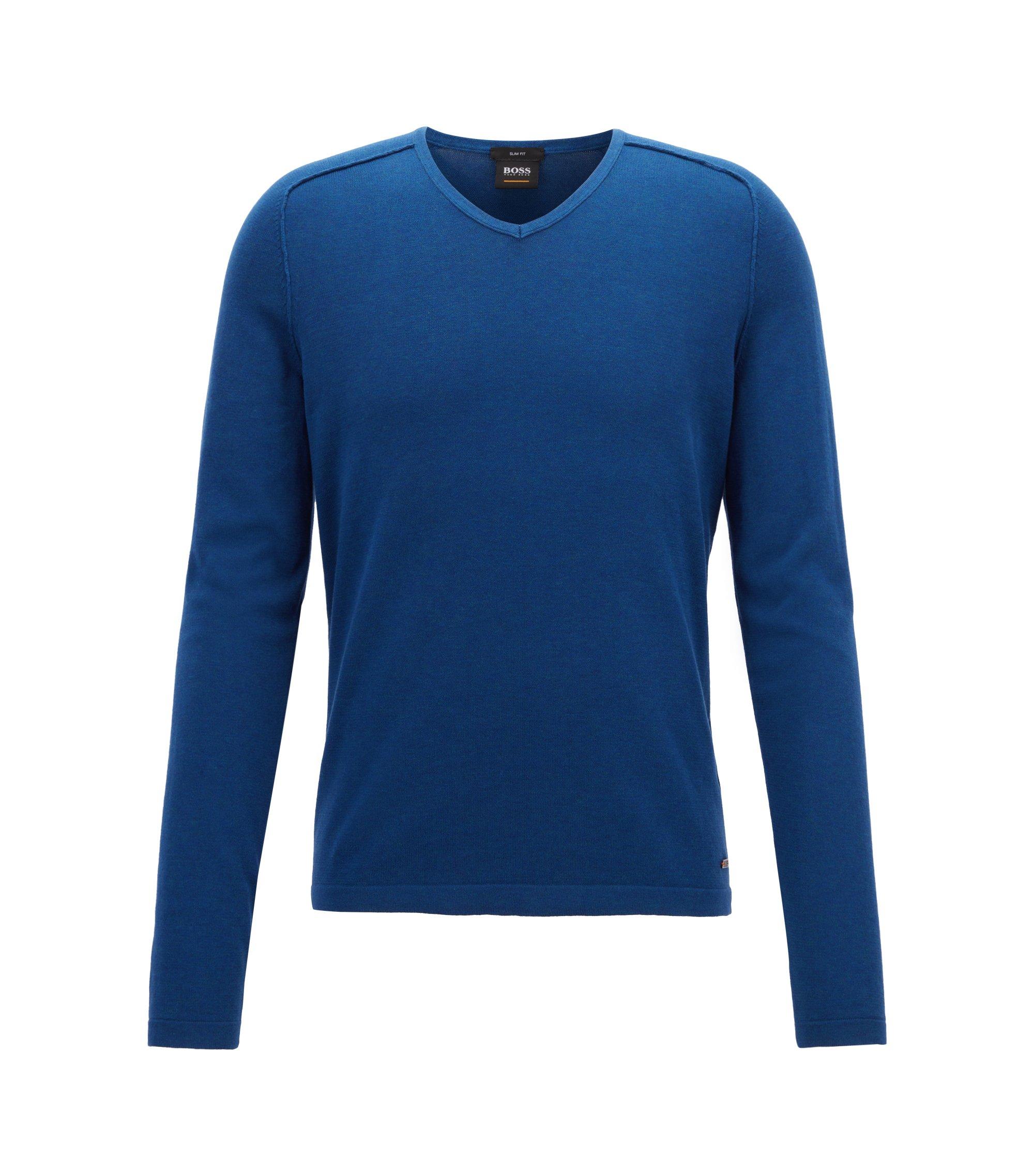 Pullover aus gestrickter Baumwolle mit V-Ausschnitt und Paspel-Details, Blau