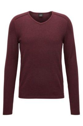 Pullover aus gestrickter Baumwolle mit V-Ausschnitt und Paspel-Details, Dunkelrot