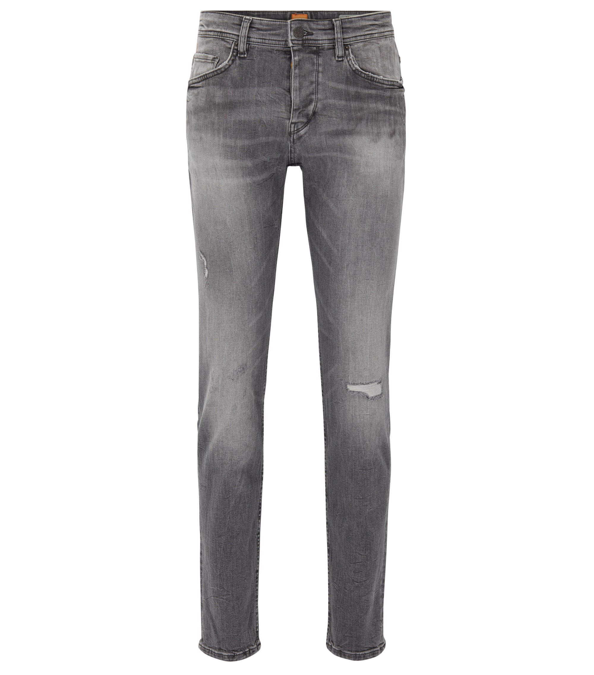 Jeans Tapered Fit noir en denim stretch recyclé, Gris