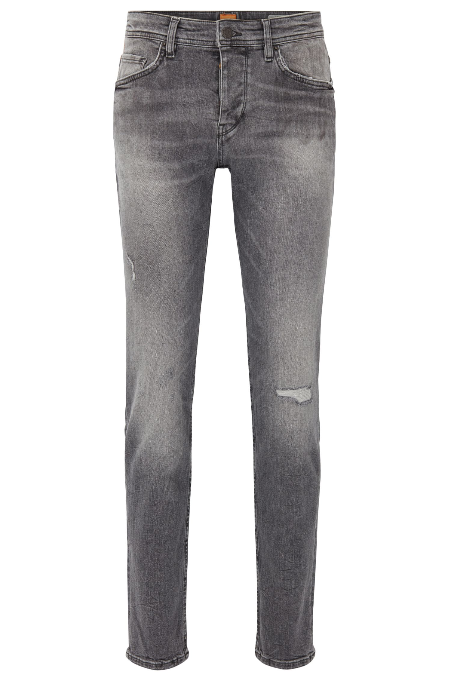 Jeans tapered fit neri in denim elasticizzato riciclato