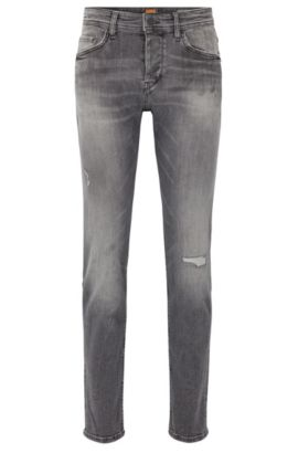 Zwarte tapered-fit jeans van gerecycled stretchdenim, Grijs