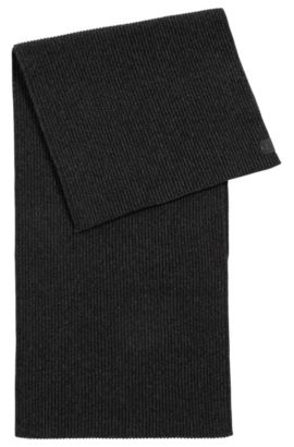 Ribbed scarf in mercerised mouline cotton, Black