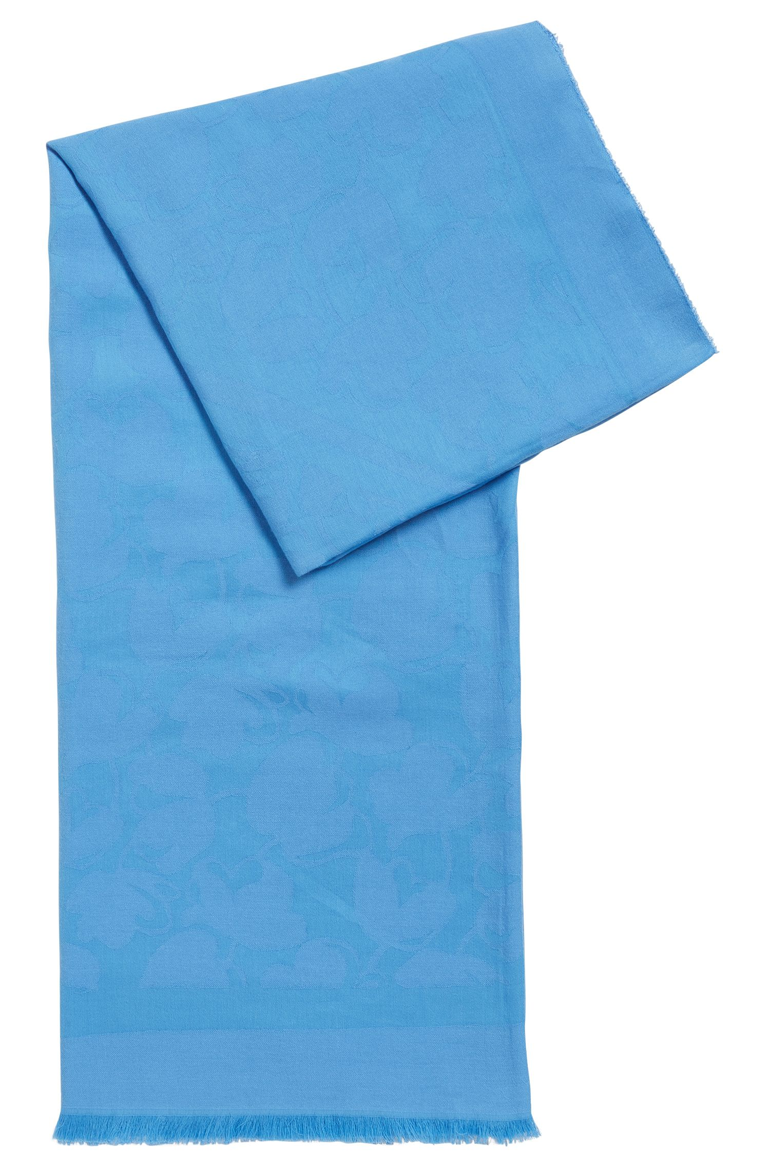Écharpe en coton mélangé à motif jacquard ton sur ton et bordures effilochées, Turquoise