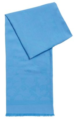 Cotton-blend tonal-jacquard scarf with frayed edges, Turquoise