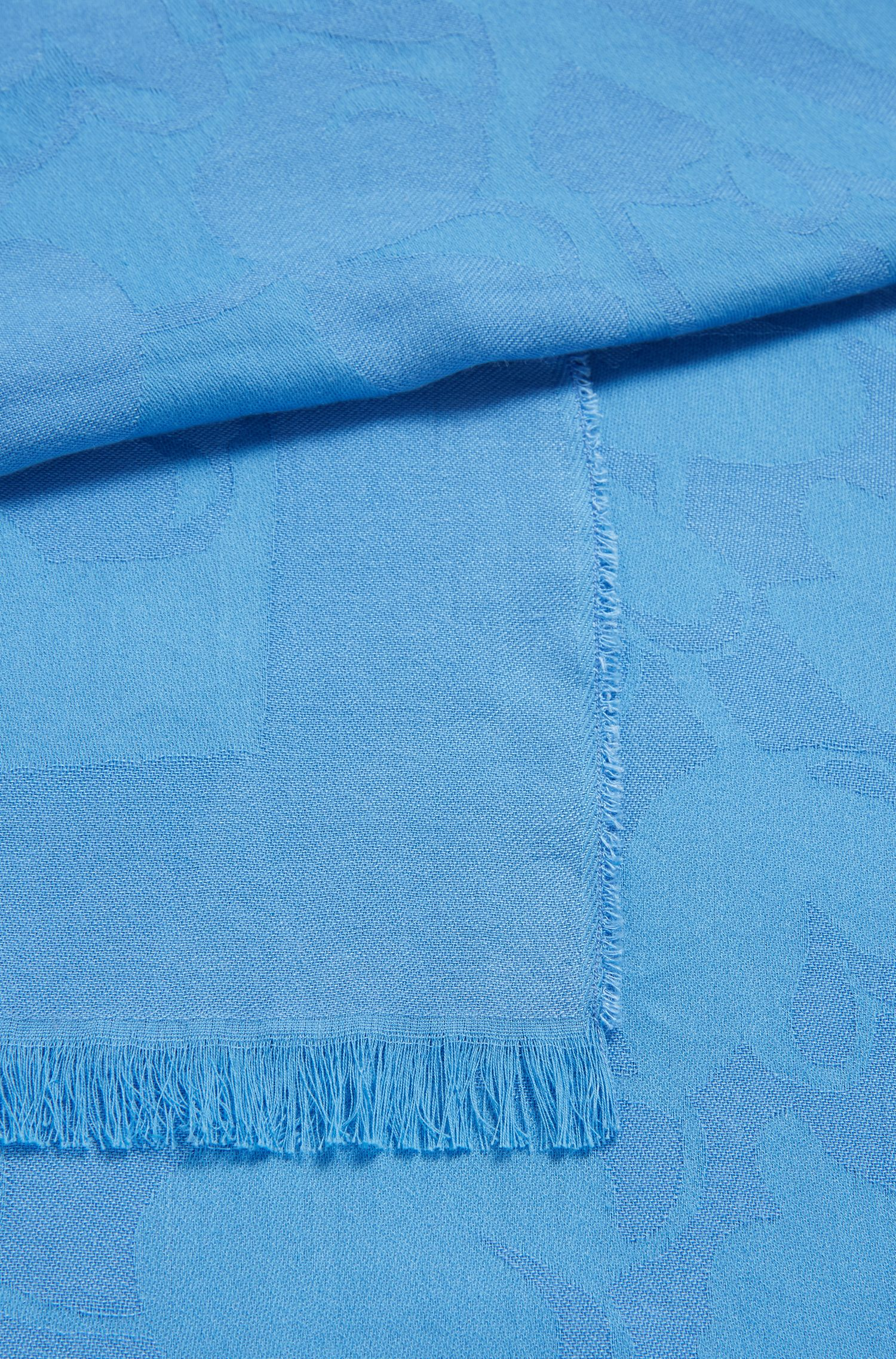 Cotton-blend tonal-jacquard scarf with frayed edges