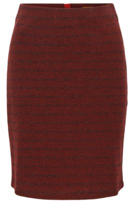 Falda lápiz en mezcla de algodón con estructura, Rojo