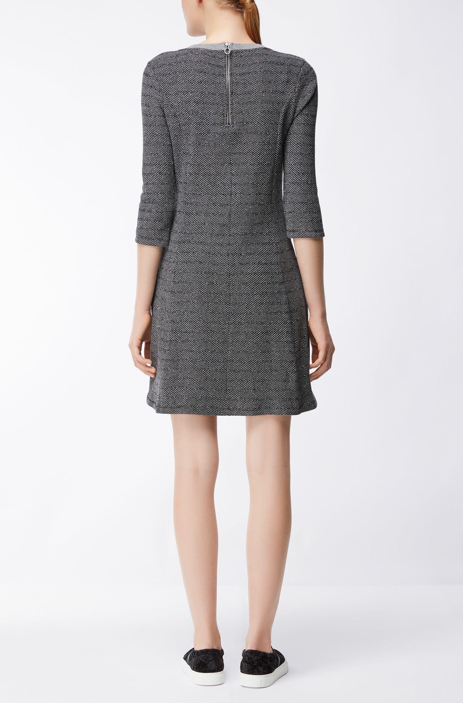 Cotton-blend dress with A-line skirt HUGO BOSS