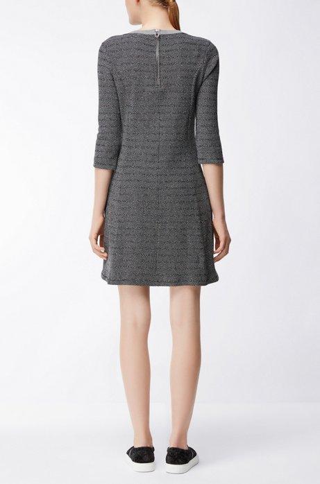 Cotton-blend dress with A-line skirt HUGO BOSS e9TCfx