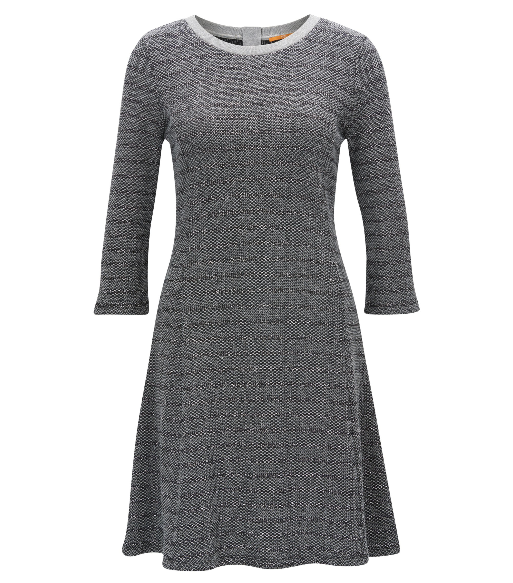 Striped cotton-blend dress with A-line skirt, Grey