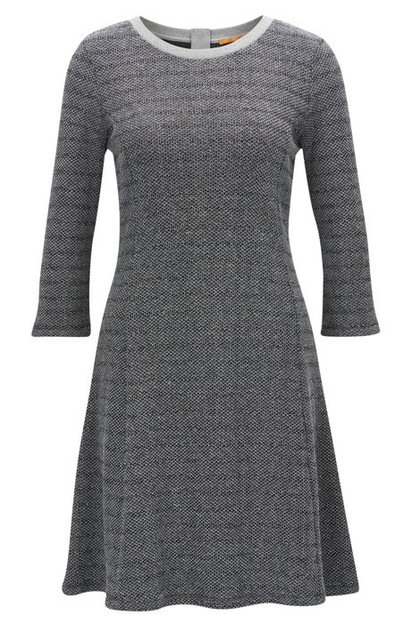 Cotton-blend dress with A-line skirt HUGO BOSS Buy Cheap Genuine Outlet Pictures On Hot Sale Clearance Finishline EPgT95iTS