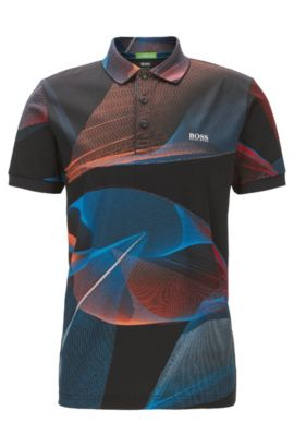 Printed slim-fit polo shirt in mercerised cotton, Patterned