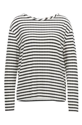 Striped sweater in stretch jersey, Patterned