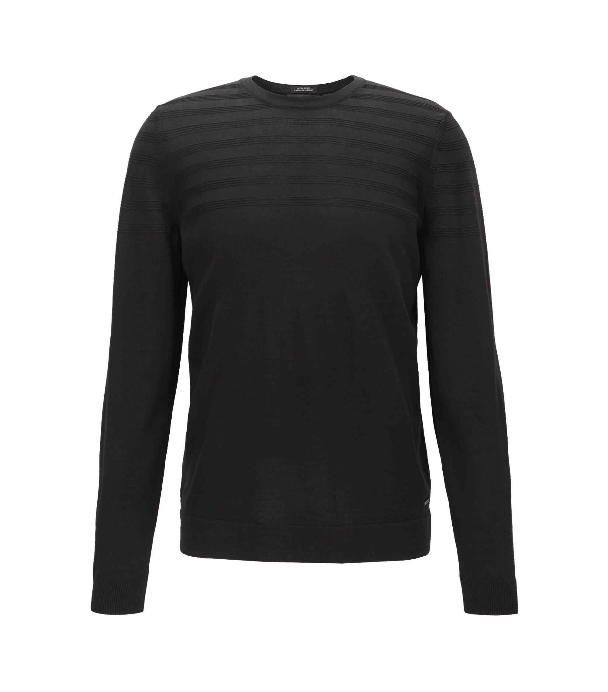 Jersey de cuello redondo en mezcla de lana con detalle con textura, Negro