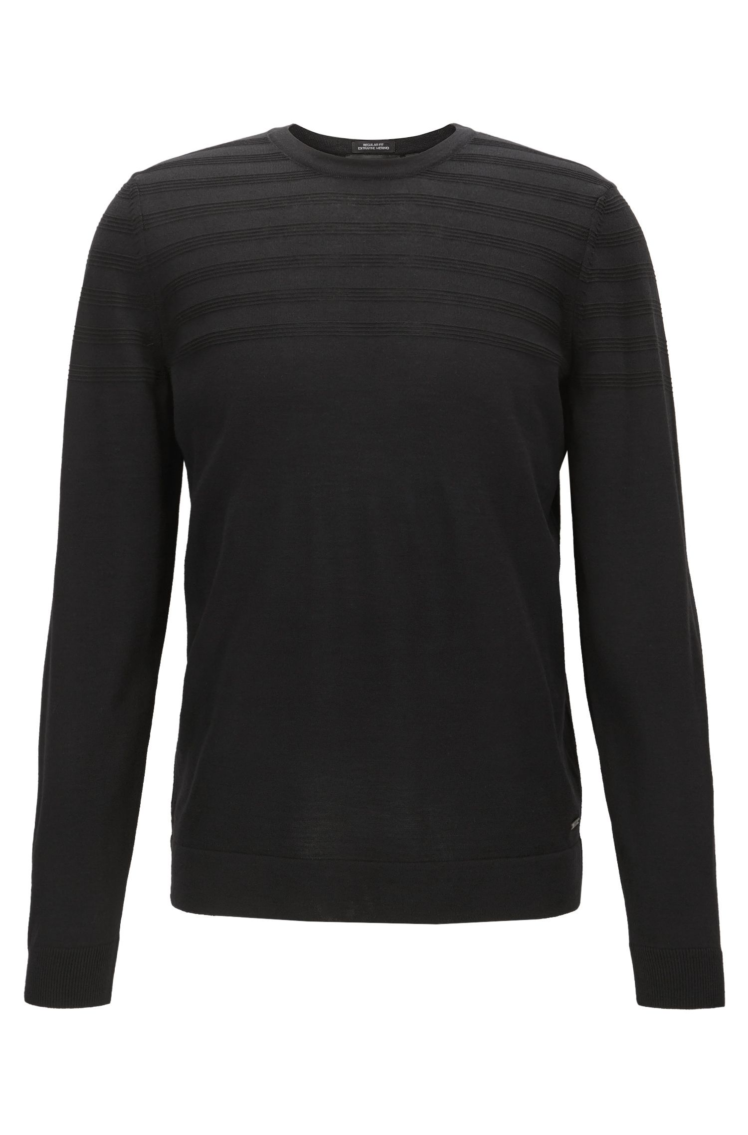 Crew-neck wool-blend sweater with structured detail, Black