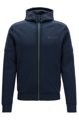 Regular-Fit Jacke aus Baumwoll-Mix, Dunkelblau