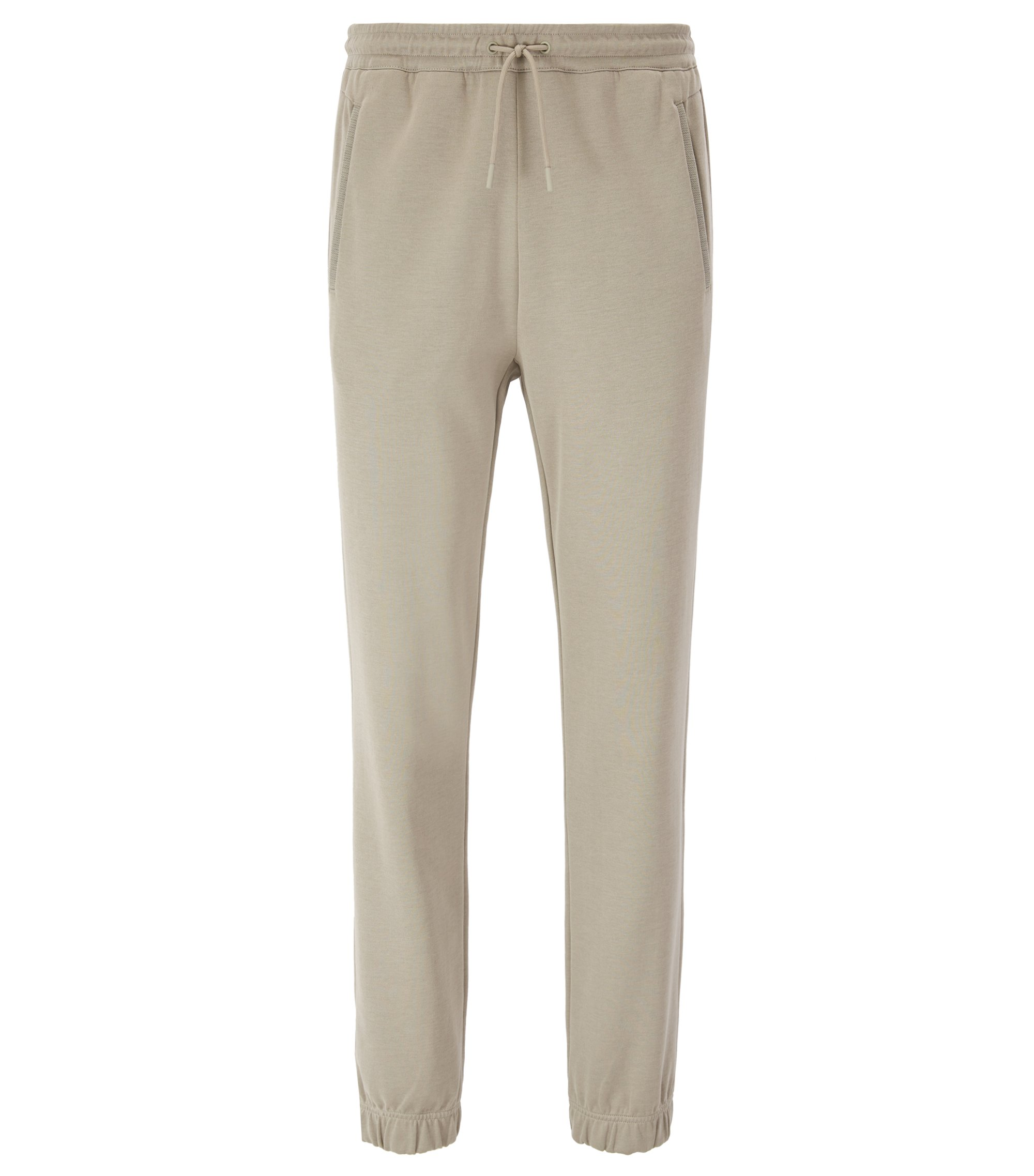 Regular-fit jogging bottoms in a cotton blend, Beige