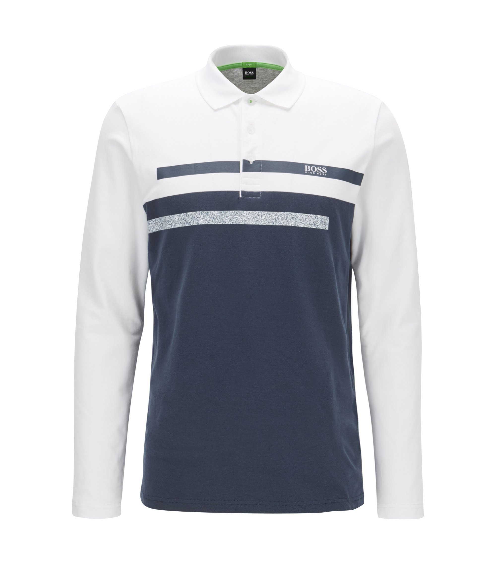 Slim-fit long-sleeved polo shirt in piqué, Dark Blue