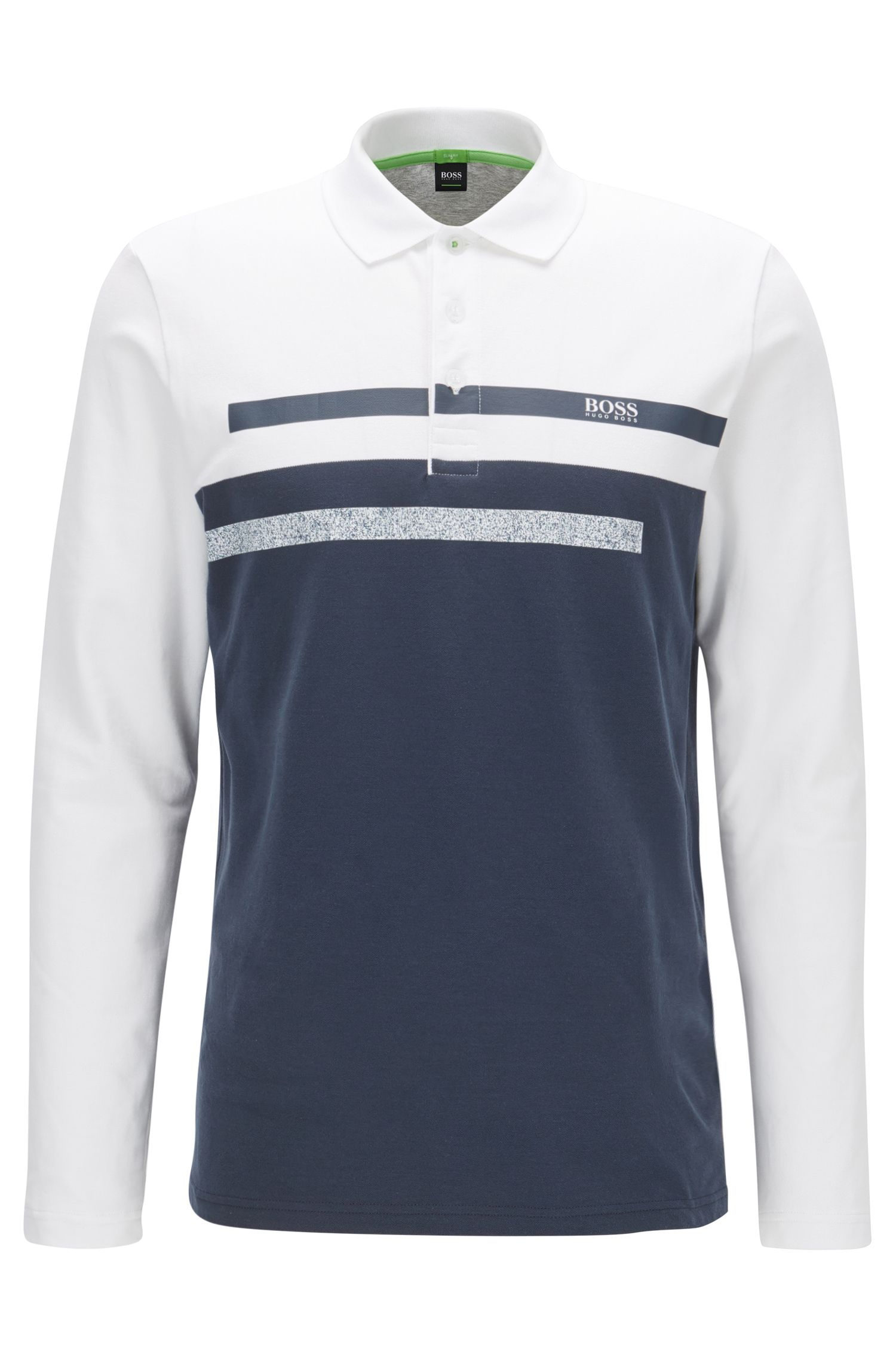 Slim-fit long-sleeved polo shirt in piqué