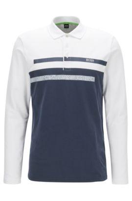 Slim-fit long-sleeved polo shirt in piqué, Dark Blue