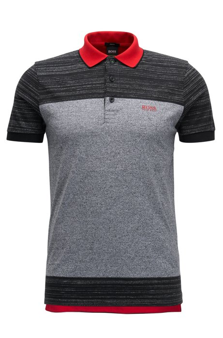 Slim-fit cotton polo shirt with contrast print