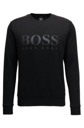 Cotton-blend sweater with two-tone logo, Black