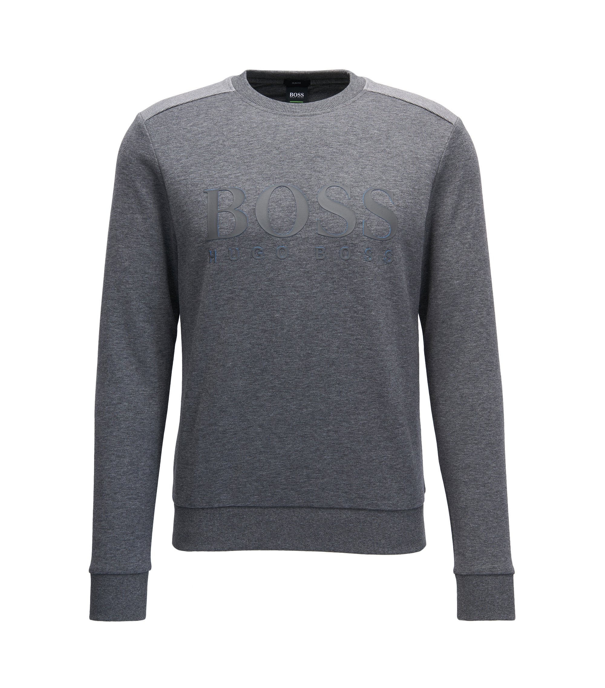 Cotton-blend sweater with two-tone logo, Grey