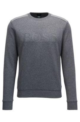 Pullover aus Baumwoll-Mix mit zweifarbigem Logo, Grau