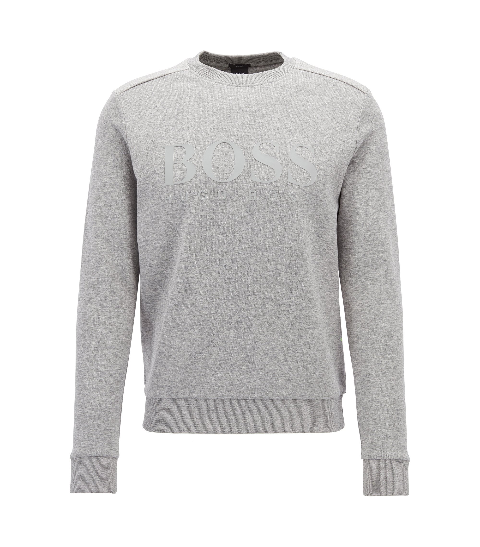 Cotton-blend sweater with two-tone logo, Light Grey