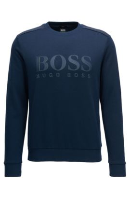 Cotton-blend sweater with two-tone logo, Dark Blue