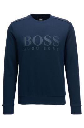 Sweat-shirt en coton mélangé à logo bicolore, Bleu foncé