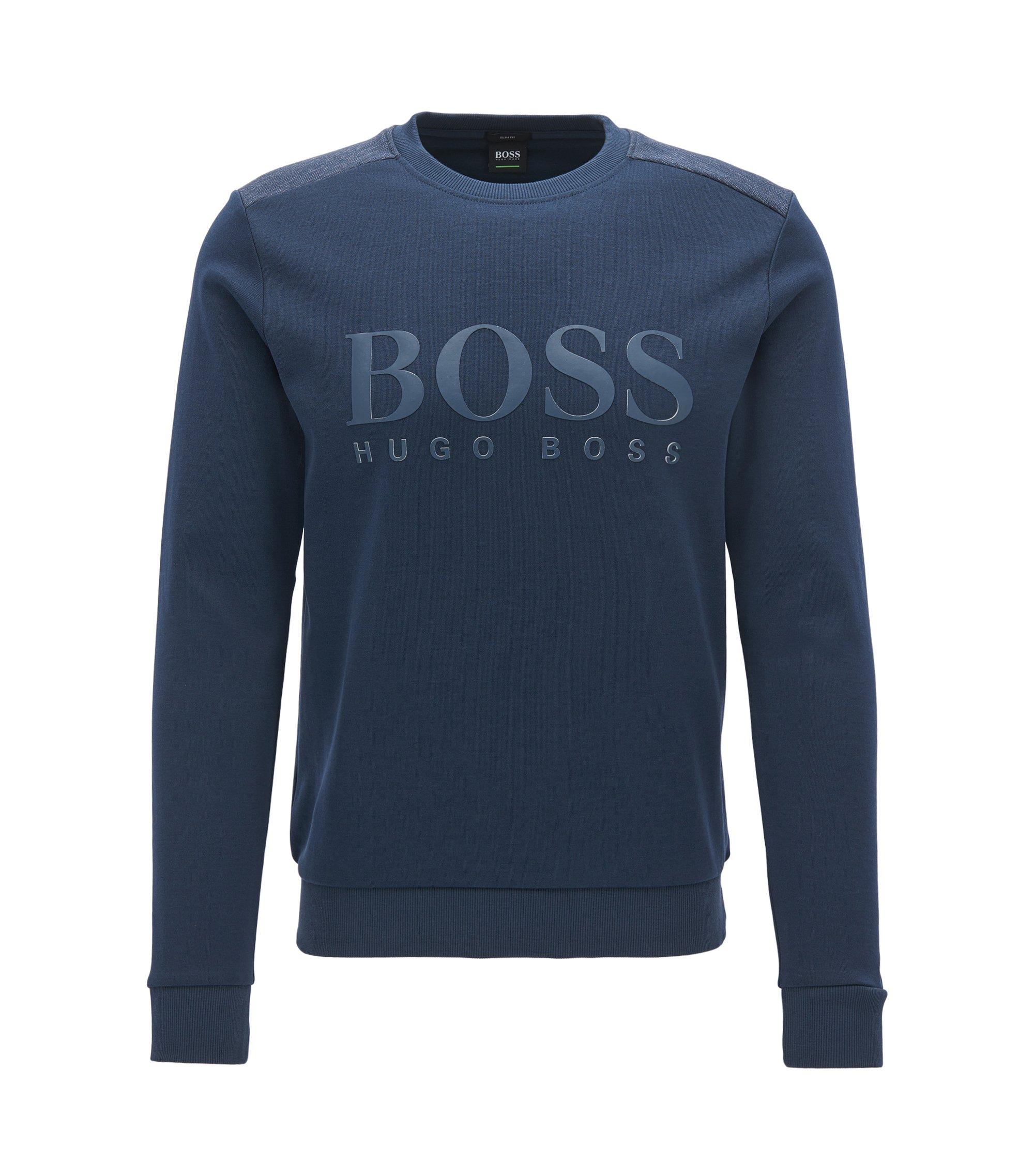 Jersey de mezcla de algodón con logo a dos tonos, Azul oscuro