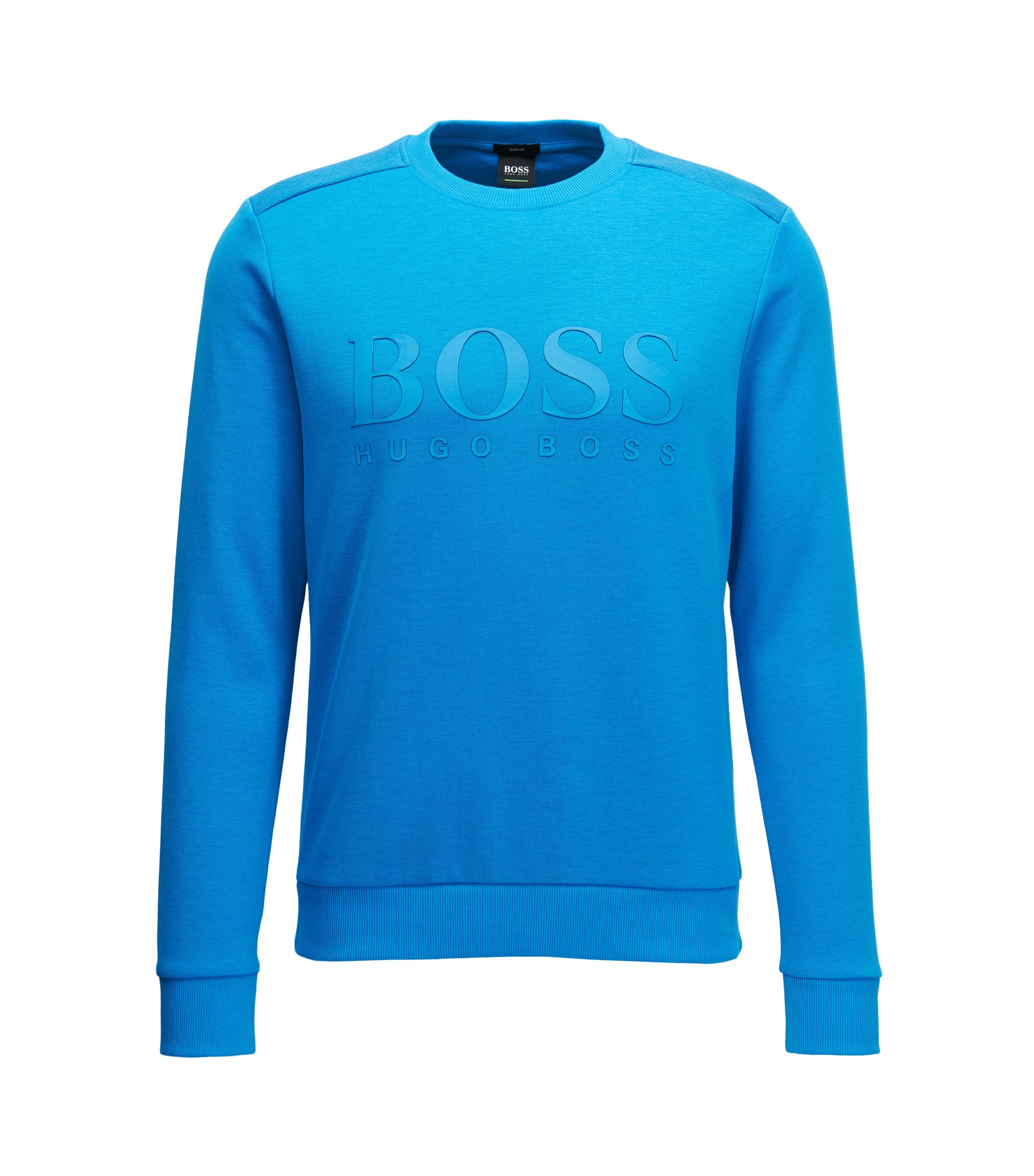 Cotton-blend sweater with two-tone logo, Turquoise